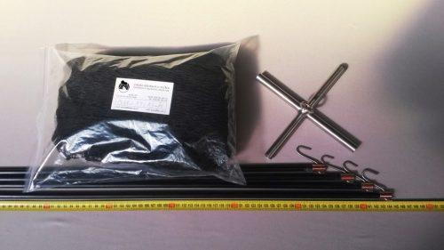 Drop net set  1,5 x 1,5 m/ PAD 15×15 mm black – knotless - 1