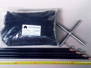 Drop net set  2 x 2 m/ Nylon knotless 5×5 mm black
